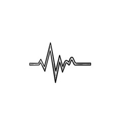 Heatbeat trace on cardiogram hand drawn outline vector