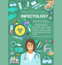 infections and viruses infectology medicine poster vector image