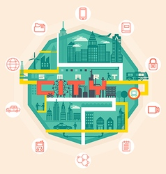 Infographic smart city concept with different icon vector