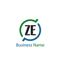 initial letter ze logo template design vector image