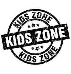 Kids zone round grunge black stamp vector