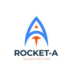 Letter a rocket logo design element rocket launch vector