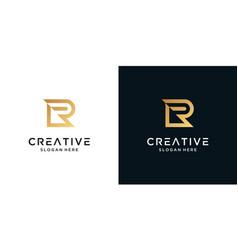 Luxury letter r logo design template vector