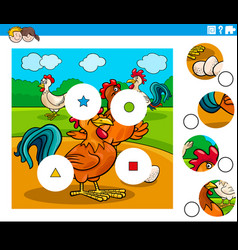 Match pieces task with chicken characters vector