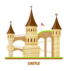 medieval castle fairy palace tower fantasy fort vector image