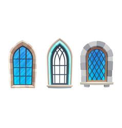 Medieval castle or cathedral interior windows vector