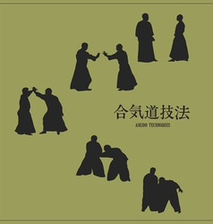 men engaged aikido on a green background vector image