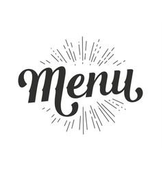 menu lettering vector image