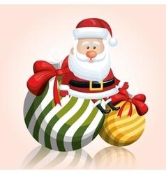 Merry chrsitmas santa claus with two ball ribbon vector