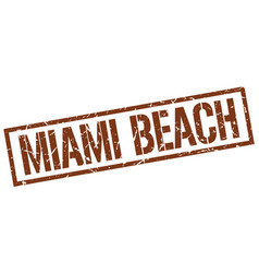 Miami beach brown square stamp vector