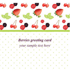 Mixed cherry and berry retro style card vector