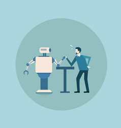 Modern robot playing arm wrestling with man vector