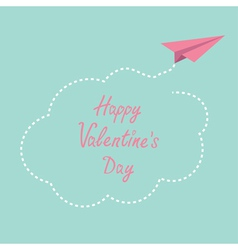 Paper plane cloud in the sky Happy Valentines day vector
