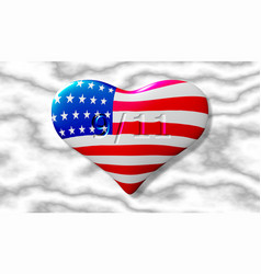 patriot day the 11th of september heart with the vector image