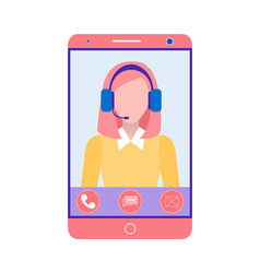 Phone operator online support gadget screen vector