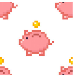 piggy bank money seamless pattern tile pixel art vector image