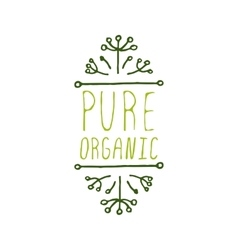 Pure organic - product label on white background vector