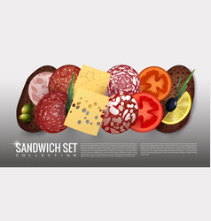 realistic sandwich ingredients set vector image vector image