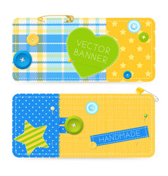 Realistic sewing banners vector