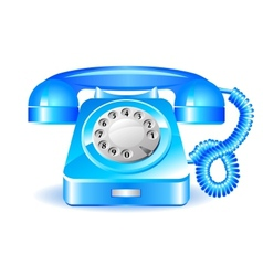 Retro blue telephone vector