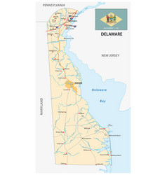 road map us state delaware with flag vector image