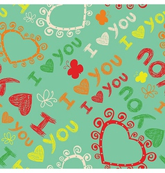 Romantic seamless pattern I love you vector image