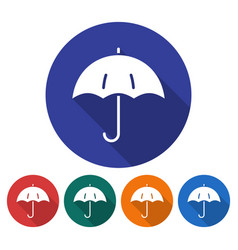 round icon of umbrella flat style with long vector image