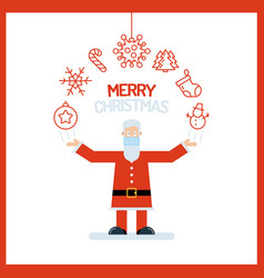 santa claus old man character in red with his vector image