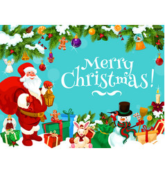 santa with christmas gift bag and decorations vector image