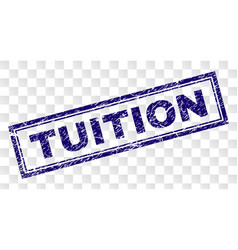 Scratched tuition rectangle stamp vector