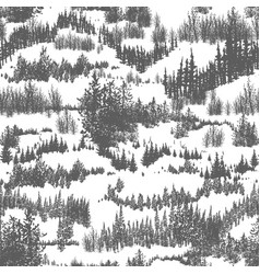 seamless pattern with hills overgrown evergreen vector image