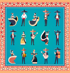 set different people day of dead traditional vector image