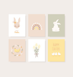 set easter greeting cards invitation vector image