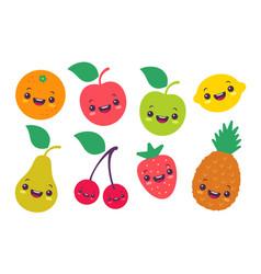 set flat a fruits in kawaii style vector image