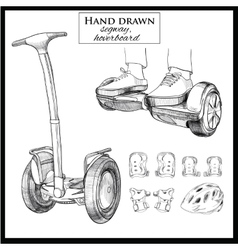 set Hand drawn Balancing Scooter segwayTwo vector image