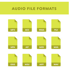 Set of audio file formats and labels in flat vector