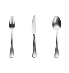 set of chrome cutlery knife fork spoon vector image