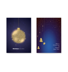 Set posters for merry christmas holidays two vector