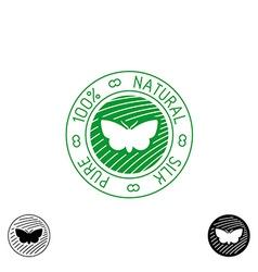 Silk logo 100 pure natural badge for clothing vector