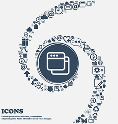 Simple Browser window icon sign in the center vector image