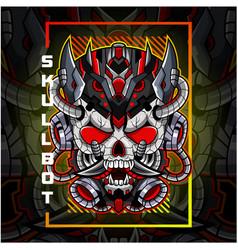 skull robot head esport mascot logo vector image