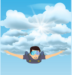 skydiver man flying in the blue cloudy sky vector image