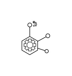 Structure molecular line style icon vector