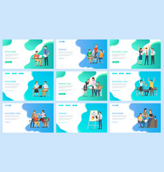 successful team and productivity office work set vector image