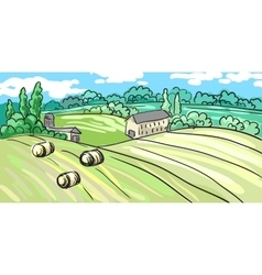 Summer landscape of the village on hill stands vector
