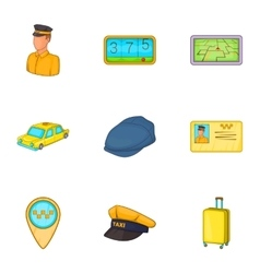 Taxi icons set cartoon style vector image