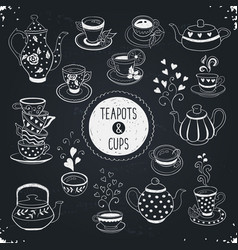 Teapots and cups vector