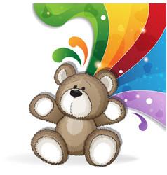 Teddy bear with rainbow vector