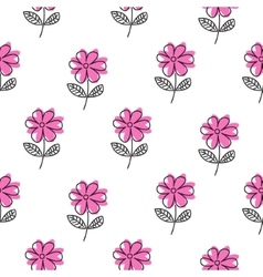Thin line pink flower pattern vector