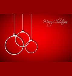 three white christmas balls on red background vector image